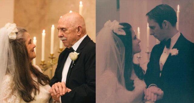 małżeństwo powtórzyło swoją sesję ślubną sprzed laty